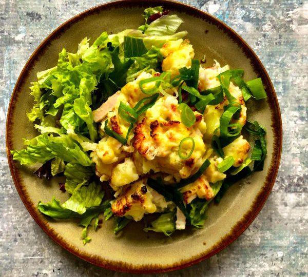 Krieltjes met asperges en kip uit de oven
